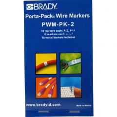 Brady Porta-Pack Wire Marker Refill: Vinyl Coated Fabric, Black on White, A to Z, 0 to 15, +, - , /