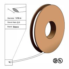 "Dasco Polyolefin 2:1 Flattened Heat Shrink - White - 1/16"" x 500' Roll"