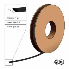 "Dasco Polyolefin 2:1 Flattened Heat Shrink - Black - 1 1/2"" x 100' Roll"