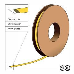 "Dasco Polyolefin 2:1 Flattened Heat Shrink - Yellow - 1 1/2"" x 100' Roll"