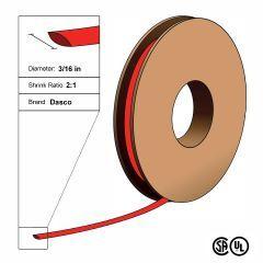 "Dasco Polyolefin 2:1 Flattened Heat Shrink - Red - 3/16"" x 250' Roll"