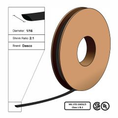 "Dasco Polyolefin 2:1 MIL23053/5 Flattened Heat Shrink - Black - 1/16"" x 250' Roll"
