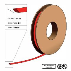 "Dasco Polyolefin 2:1 MIL23053/5 Flattened Heat Shrink - Red - 3/16"" x 200' Roll"