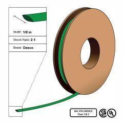 "Dasco Polyolefin 2:1 MIL23053/5 Flattened Heat Shrink - Green - 1/8"" x 250' Roll"