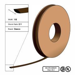 "Dasco Polyolefin 2:1 MIL23053/5 Flattened Heat Shrink - Brown - 1/8"" x 250' Roll"