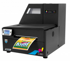 Afinia L801 Plus printing a colorful, water-resistant beverage label.