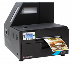 Afinia L801 Dye Ink Printer producing a colorful product label.