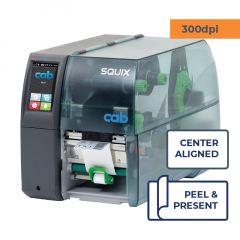 Cab Squix 4.3 / 300 MP Printer - 300 dpi - Peel and Present - Center Aligned