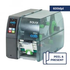 Cab Squix 4 / 600 MP Printer - 600 dpi - Peel and Present - Center Aligned