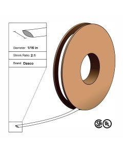 "Dasco Polyolefin 2:1 Flattened Heat Shrink - White - 1/16"" x 250' Roll"