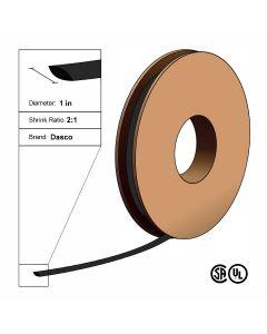 "Dasco Polyolefin 2:1 Flattened Heat Shrink - Black - 1 1/2"" x 100' Roll"