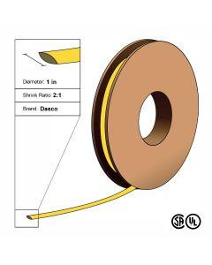"Dasco Polyolefin 2:1 Flattened Heat Shrink - Yellow - 1 1/2"" x 100' Roll"