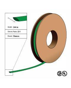 "Dasco Polyolefin 2:1 Flattened Heat Shrink - Green - 3/4"" x 100' Roll"