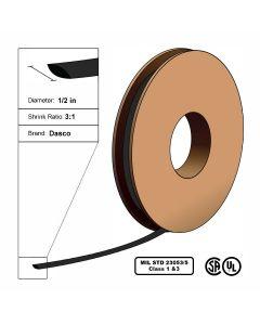 "Dasco Polyolefin 3:1 MIL23053/5 Flattened Heat Shrink - Black - 1/2"" x 200' Roll"