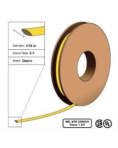 "Dasco Polyolefin 3:1 MIL23053/5 Flattened Heat Shrink - Yellow - 1/16"" x 200' Roll"