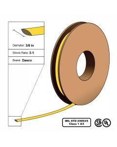"Dasco Polyolefin 3:1 MIL23053/5 Flattened Heat Shrink - Yellow - 3/8"" x 200' Roll"