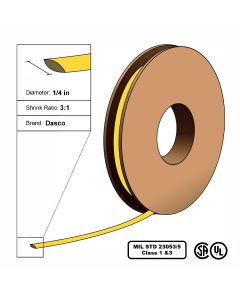 "Dasco Polyolefin 3:1 MIL23053/5 Flattened Heat Shrink - Yellow - 1/4"" x 200' Roll"