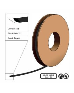 "Dasco Polyolefin 2:1 MIL23053/5 Flattened Heat Shrink - Black - 3/8"" x 150' Roll"
