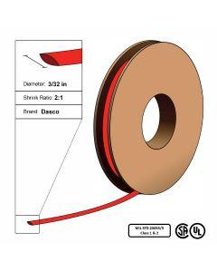 "Dasco Polyolefin 2:1 MIL23053/5 Flattened Heat Shrink - Red - 3/32"" x 250' Roll"