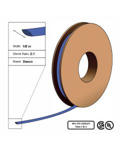 "Dasco Polyolefin 2:1 MIL23053/5 Flattened Heat Shrink - Blue - 1/8"" x 250' Roll"
