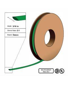 "Dasco Polyolefin 2:1 MIL23053/5 Flattened Heat Shrink - Green - 3/16"" x 200' Roll"