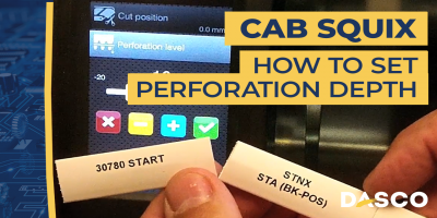 How to set perforation cutting depth on the Cab Squix printer