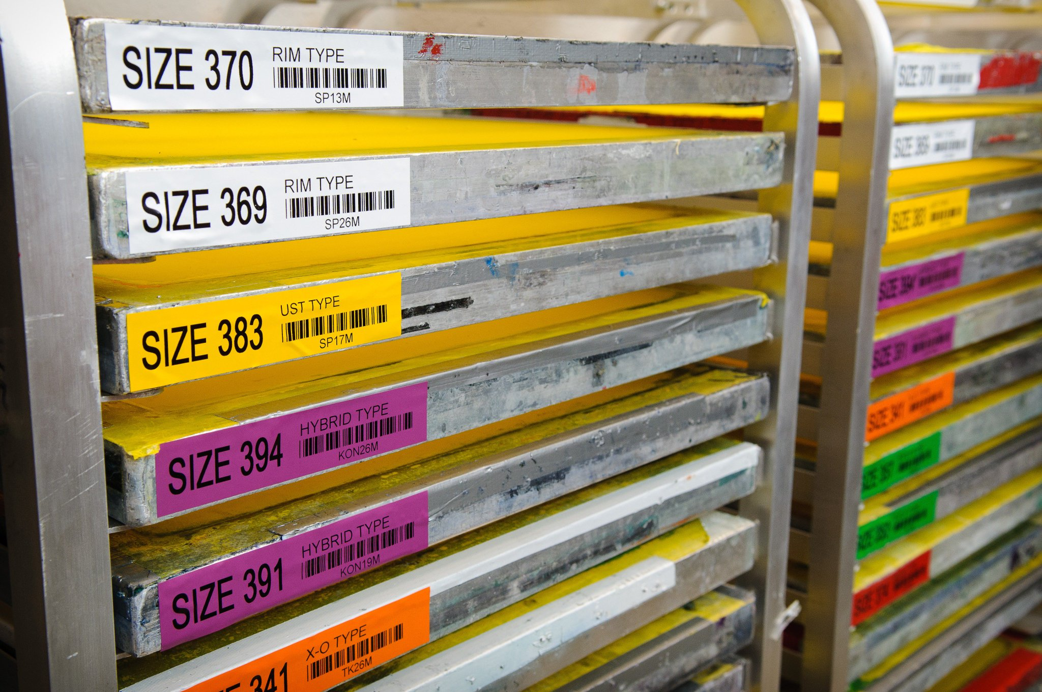 Vinyl Labels on Warehouse Racks