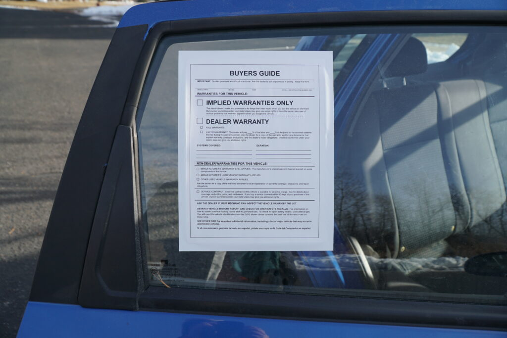 ftc buyer's guide on car window