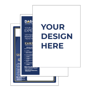 """graphic displaying used car window sticker designs with the text """"your design here"""""""